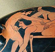 Depiction of fellatio on Attic red-figure kylix, c. 510 BC